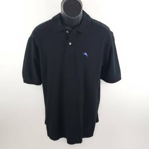 Tommy Bahama Mens Polo Shirt Black Short Sleeves